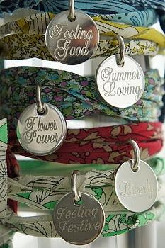 Fabric ribbion bracelet with charm