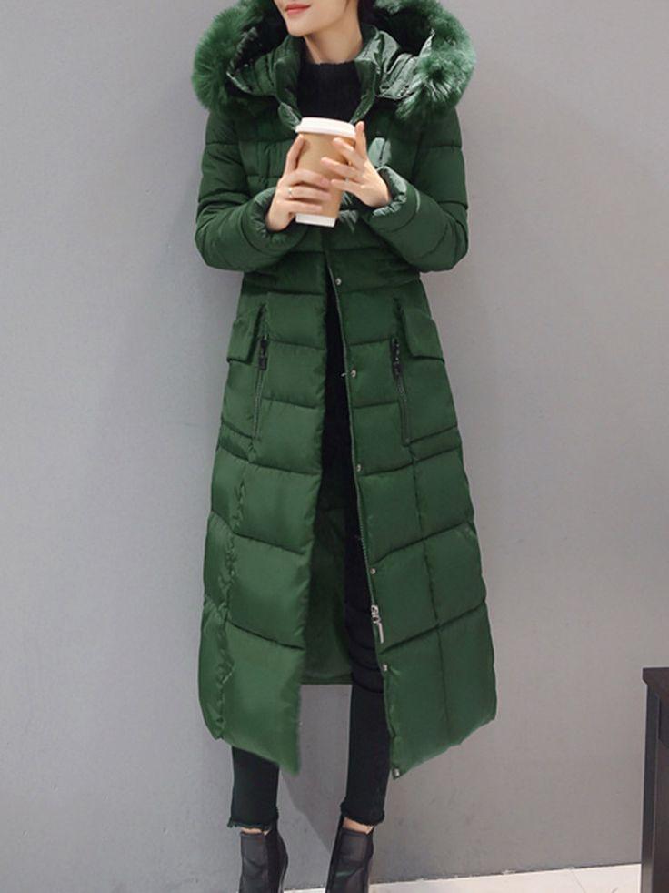 Casual Women Solid Long Sleeve Hooded Zipper Down Coat