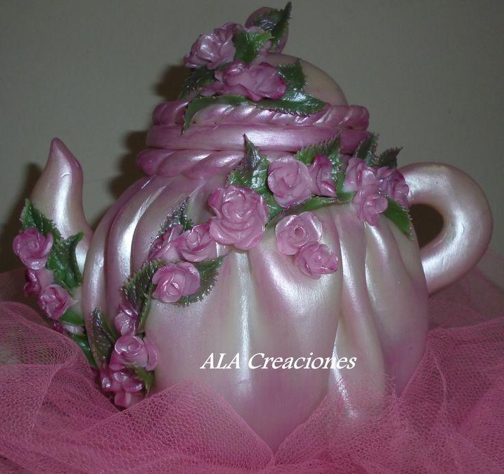 Tetera frasco de mermelada decorado con porcelana fria - Frascos de vidrio decorados ...