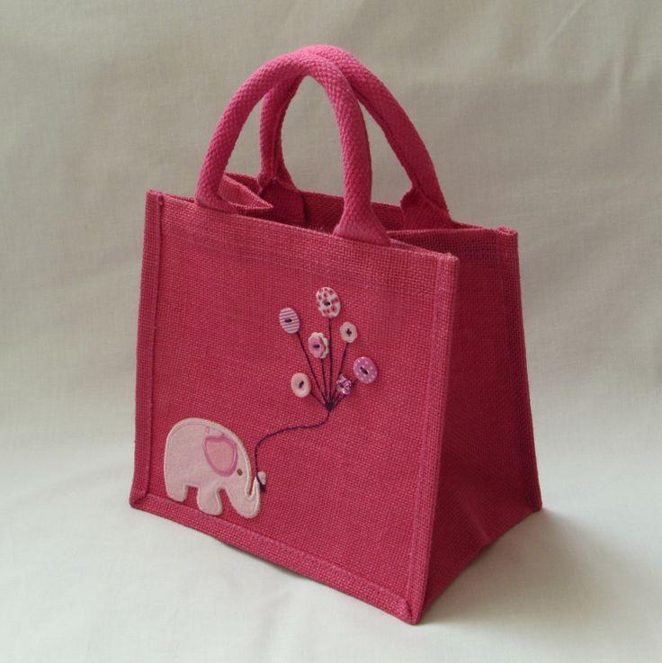 Small Jute Bag - Deep Pink with Elephant