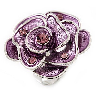 Lavender Enamel Crystal Rose Ring In Rhodium Plated Metal Avalaya. $16.20. Theme: floral, rose. Material: enamel. Gemstone: diamante. Metal Finish: rhodium plated. Occasion: club night out, cocktail party