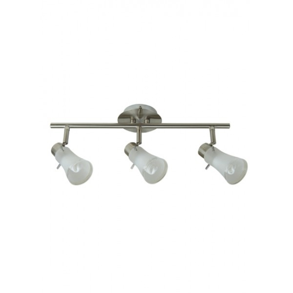 Seira 3 Light Spotlight In Brushed Chrome With Frosted Glass Heads