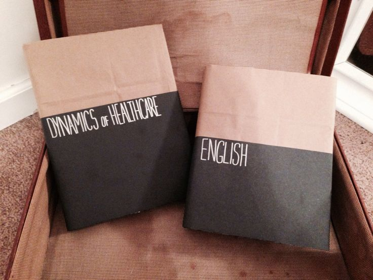 Covering Textbooks: Brown paper bags, black poster board and a silver sharpie, viola!