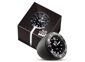 Lolliclock Rock Black. The ultimate desk accessory or gift. 44mm, ABS Polycarbonite case + PC Rock backcover, 1ATM, PC21S movement. Buy online at www.lolliclock.com.au