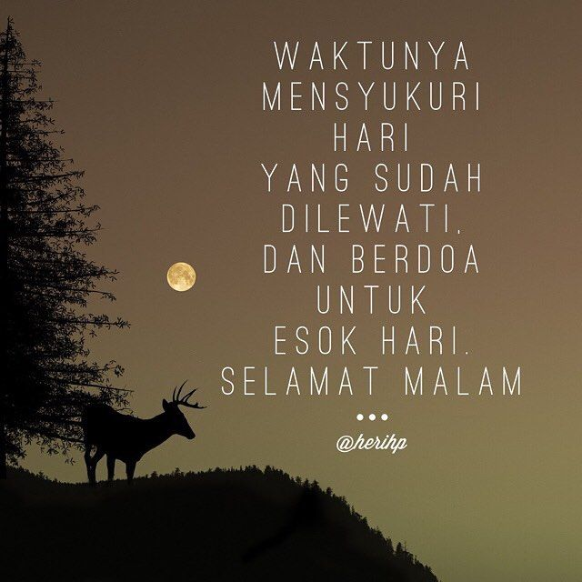 Waktunya mensyukuri hari yang sudah dilewati dan berdoa untuk esok hari.  Selamat Malam #malam #quote #quoteoftheday #lovelyquote #wisdom #goodnight #attitude #pray #tommorow #sleeptight #sweetdream
