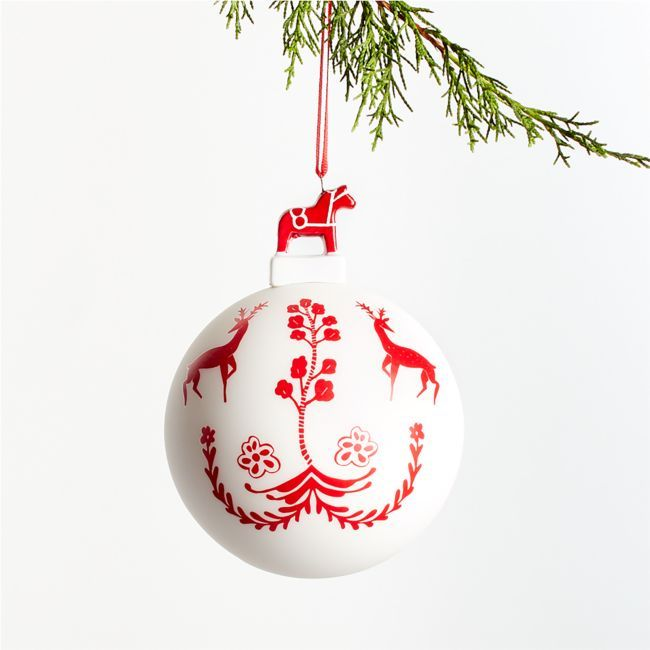 White Nordic Ball With Reindeer Christmas Ornament Crate And Barrel In 2020 Nordic Christmas Decorations Reindeer Ornaments Christmas Ornaments