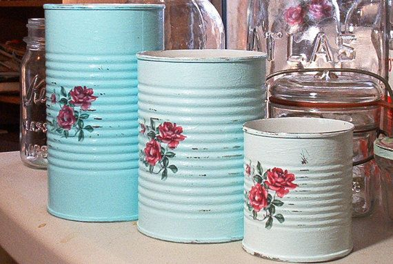 3 shades of laguna blue shabby chic tin cans deep pink roses upcycled recycled salvaged repurposed cottage different sizes blue-green sea