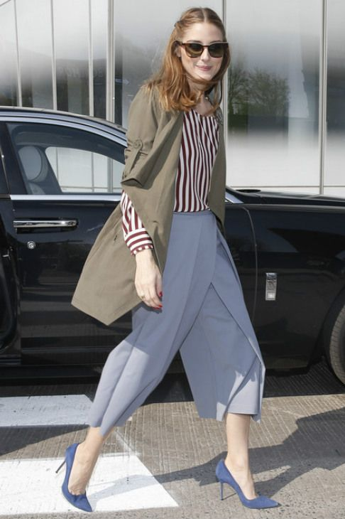 Olivia Palermo wearing Tibi Agathe Pleated Culottes