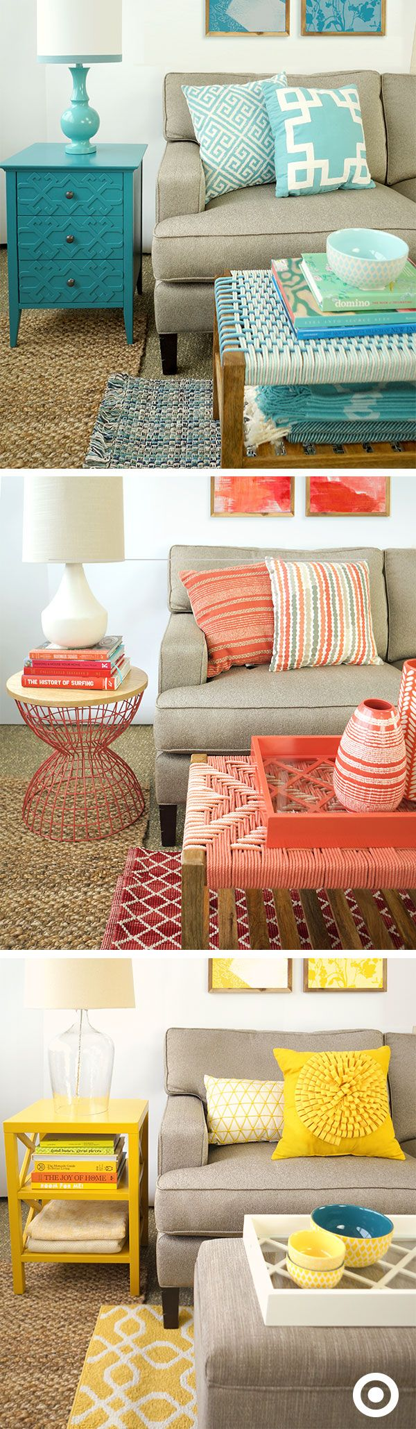 No need for an expensive room makeover. All you need is a little color infusion! Add pops of color into your space using accent pieces in coral, yellow and teal.