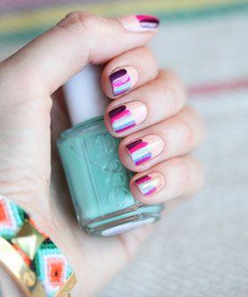 A new mani to try, plus more AM news.: Nails Art, Patterns Nails, Polish Nails, Colors Nails, Big Tops Parties, Circus Nails, Nails Polish, Stripes Nails, Colors Inspiration