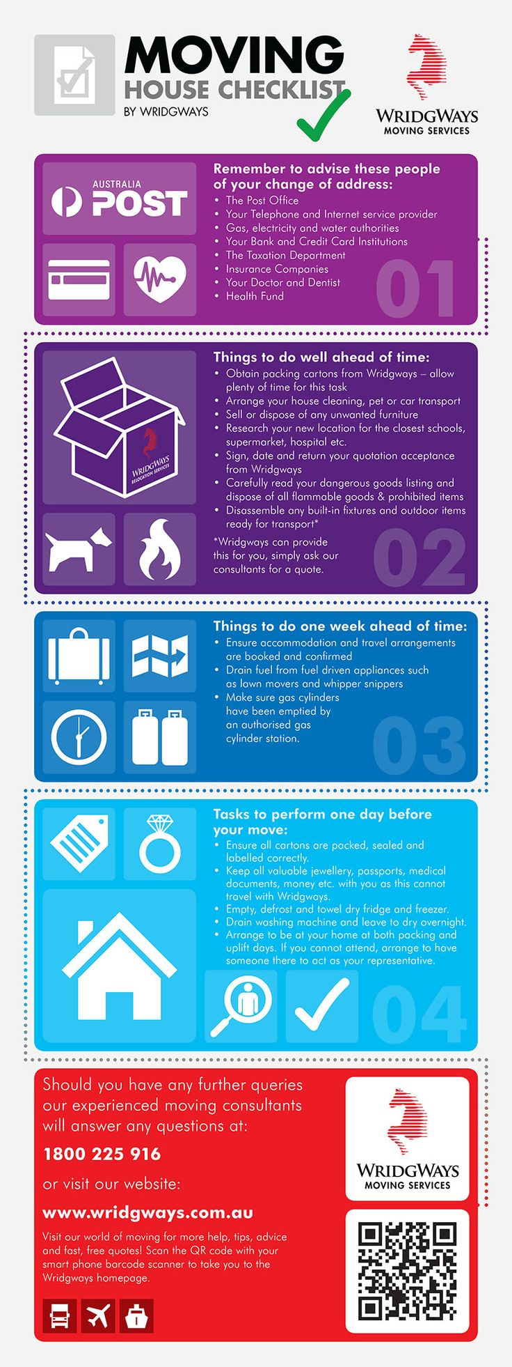 Wridgways moving checklist: SHARE this handy infographic with your friends or family moving house. Help make sure they're organised on moving day! http://www.wridgways.com.au/news/index.php/one-handy-infographic-moving-house-checklist/