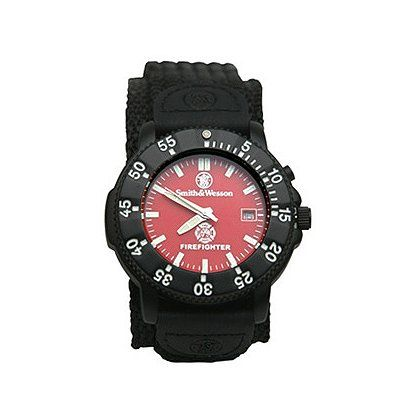 "The Smith & Wesson Firefighter Watch features a Maltese cross and ""FIREFIGHTER"" silk screened in white on a red face."