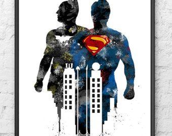 Dawn Of Justice Print Batman Art Superman Print Wonder by PointDot