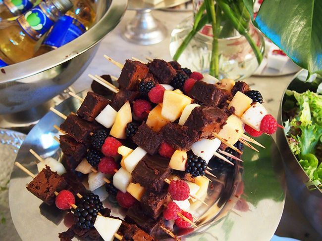 Brownie kabobs with fruit!