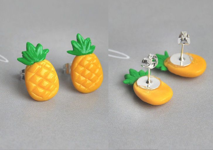 Tendance Joaillerie 2017  Pineapple Stud Earrings by Madizzo on deviantART  Tendance & idée Joaillerie 2016/2017 Description Boucle d'oreille fimo