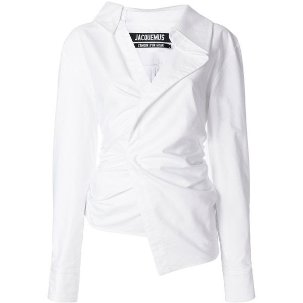 Jacquemus Asymmetric Cotton Shirt ($470) ❤ liked on Polyvore featuring tops, white, asymmetrical tops, jacquemus, white shirt, shirred shirt and ruched top