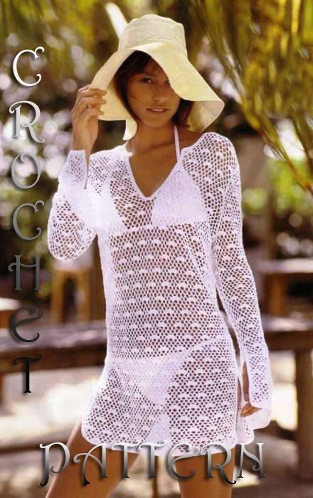 For Experience Crocheters, Woman Crochet Pattern for summer pullover cover up…