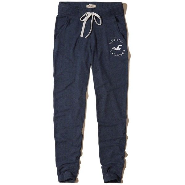 Hollister Graphic Fleece Joggers ($20) ❤ liked on Polyvore featuring activewear, activewear pants and navy