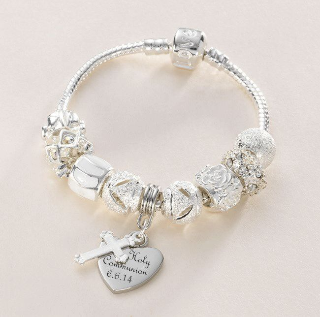 Personalised First Communion Charm Bead Bracelet with Heart and Cross Charms - First Communion Pandora style bracelet  - Girls First Holy Communion Jewellery  for a girl, Daughter, Granddaughter, Goddaughter, Niece