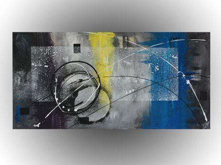 tableau, toile, art, abstrait, colorés, peinture, décoration, cercle, jaune, bleu, www.mcdesign.fr www.facebook.fr/mcdesignart