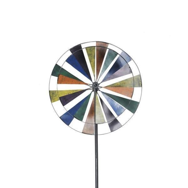 "$74 72"" What better inspiration is there for a playful garden spinner than a spinning windmill. Beautify your garden, yard, or other grassy outdoor space with the rustic charm of the Sunjoy Windmill Iron Garden Stake. 