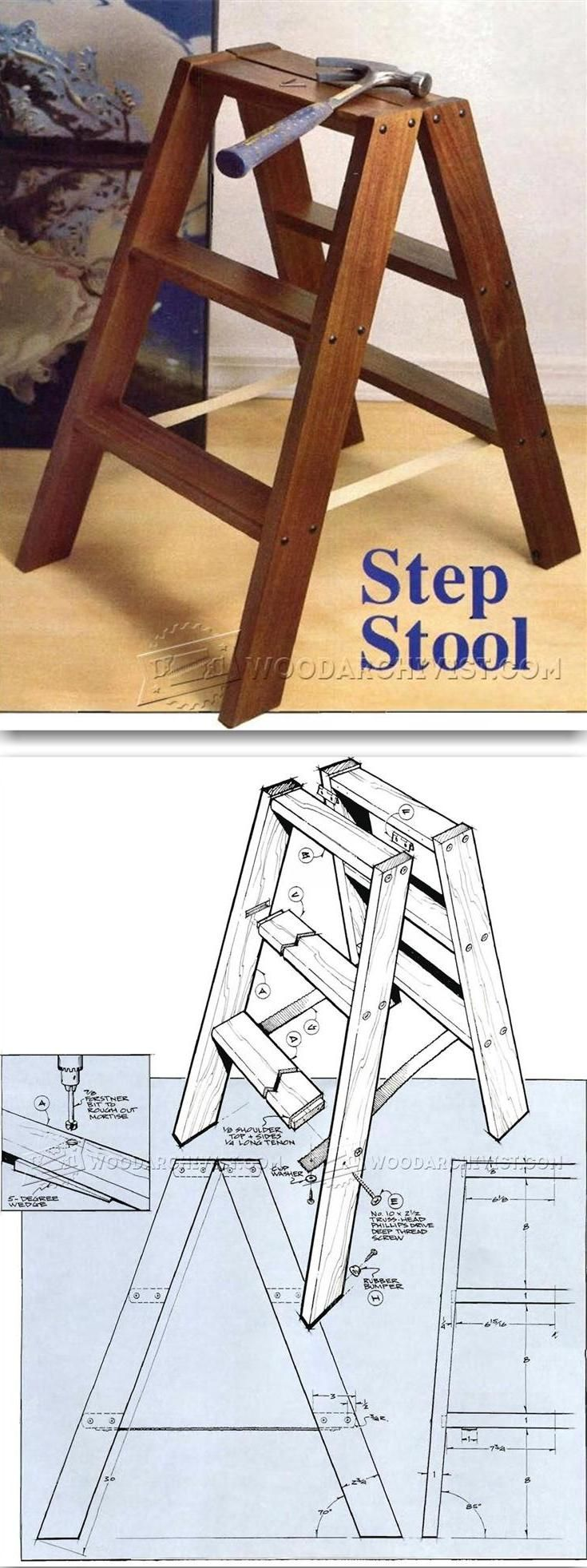 DIY Step Stool Woodworking Plans and