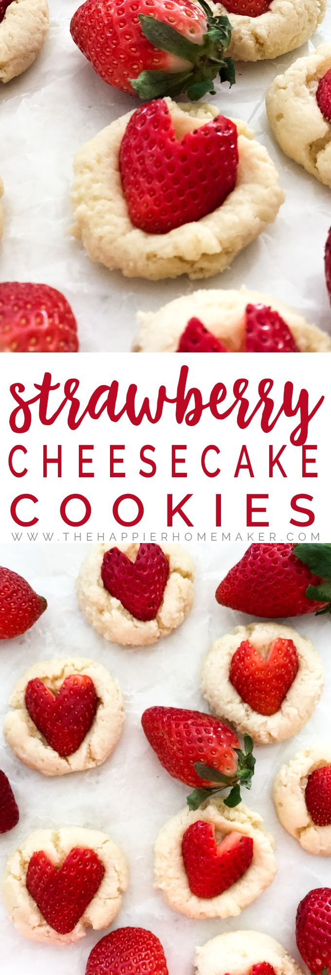 Strawberry Cheesecake Cookie Recipe - Easy, delicious light and fluffy cookies with a creamy center, topped with a heart shaped strawberry. Perfect Valentine's Day dessert recipe! #recipes #valentinesday