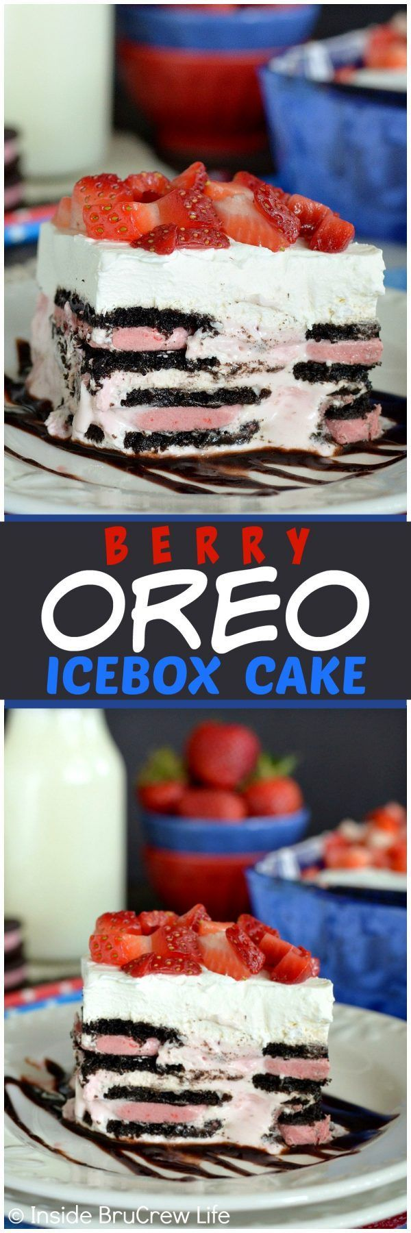 Berry Oreo Icebox Cake - this easy no bake cake has layers of berry Oreos and berry cheesecake. Awesome recipe for hot summer days!