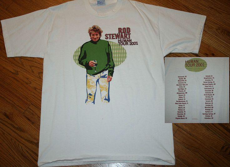 Rod Stewart Human Tour 2001 concert T-Shirt vintage music tee Men's X-Large XL #AllSport #GraphicTee