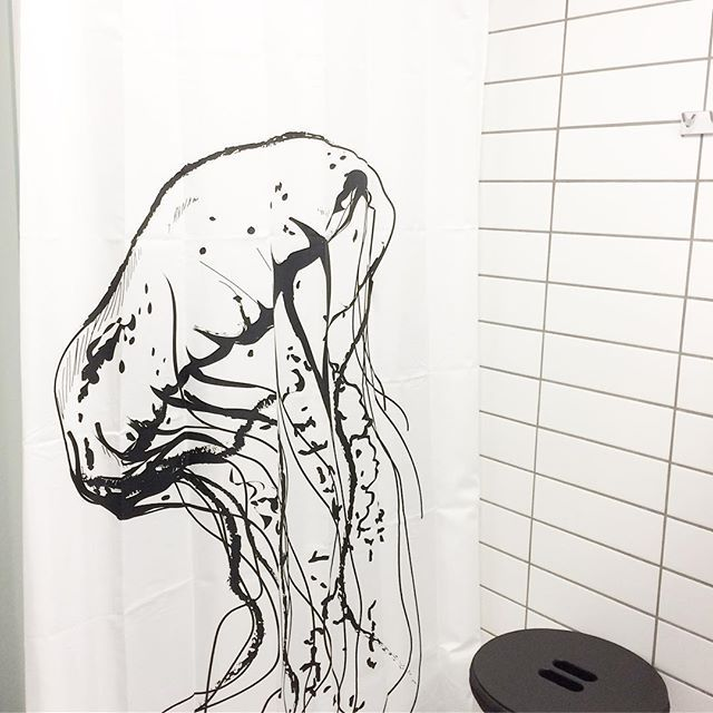 Testing testing... our new Jellyfish shower curtain. Will be in stock in February  #showercurtain #shower #bathroom #danishdesign #scandinavian #jellyfish #aqua #water #badeforhæng #bad #badeværelse #bruser #vandmand #homejunkie #interior #nordicliving