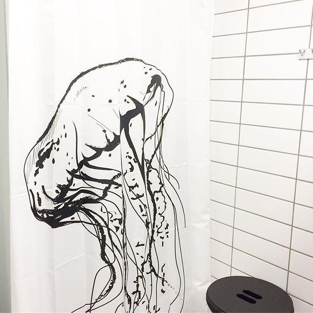 Testing testing... our new Jellyfish shower curtain. Will be in stock in February  #showercurtain #shower #bathroom #danishdesign #scandinavian #jellyfish #aqua #water #badeforhæng #bad #badeværelse #bruser #vandmand #homejunkie #interior #nordicliving