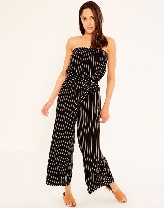 Striped Shirred Jumpsuit Black/beachstone