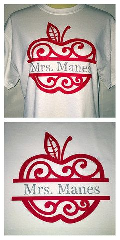 Say hello to T-shirt Fridays!! This split apple with name in the middle has become a very popular item for teachers. The material is heat