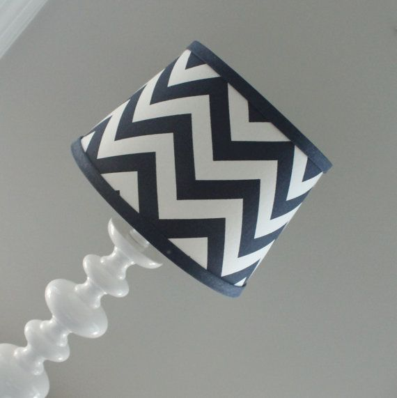 Small Navy White Chevron lamp shade with by babymilanbedding