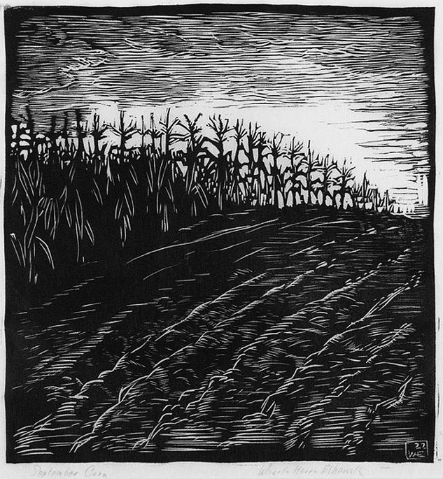 ✨ Wharton Esherick, American (1887-1970) - September Corn, 1922. Woodcut print on paper. Signed titled and dated, 9'' x 8 1/2''
