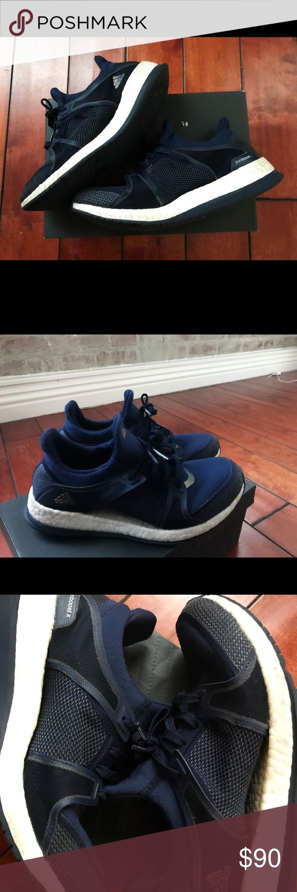 Adidas Pure Boosts Vibrant navy blue adidas pure boost sneakers. Super comfortable (feels like walking on clouds ☁️ ). Worn several times, no where near the end of their life. No holes, stains, etc. these photos where taken with them a bit dirty but will be cleaned prior to being shipped. Open to offers! adidas Shoes Athletic Shoes