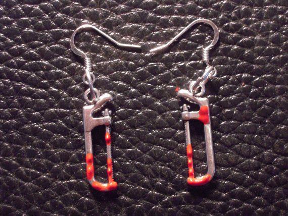 Bloody Hacksaw Horror Movie Gore Zombie Earrings /Walking Dead/ Halloween Jewelry Zombie Power Tools on Etsy, $4.50
