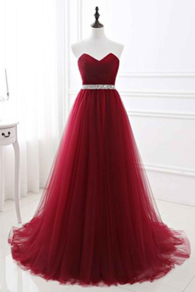 Red tulle sweetheart A-line sequins long prom dress evening dresses