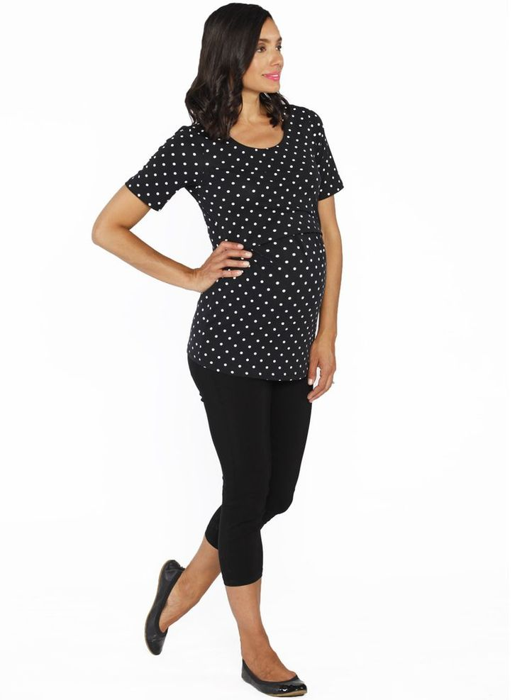 Breastfeeding Top & Capri Pants Combo Outfit - Black/ Spots, $49.95.  Perfect for any busy mums, this nursing top features discrete breastfeeding access. The pants feature a high waistband great for maternity or postpartum. Best of all, save $49.95 when you buy!