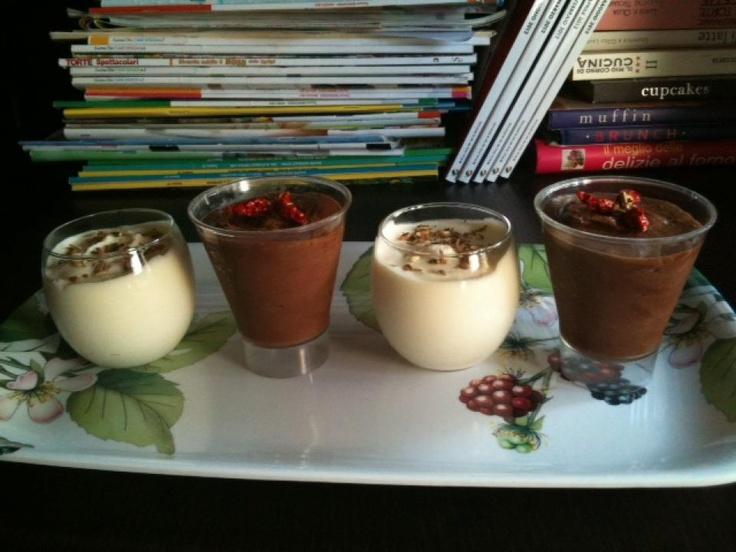 """""""Mousse al cioccolato bianco e cardamomo"""" e """"Mousse al cioccolato fondente e peperoncino""""  trovate le ricette qui - find the recipes here ---> http://www.facebook.com/media/set/?set=a.121624294591004.32210.121609514592482=3#!/photo.php?fbid=336865566400208=a.121624294591004.32210.121609514592482=3"""