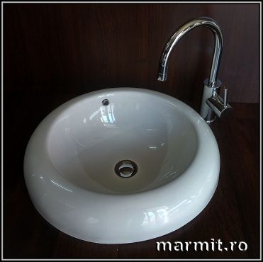 lavoar rotund, chiuveta baie, lavoar compozit marmura, lavoar baie Camerino, lavoar partial incastrat, lavoar rotund Camerino