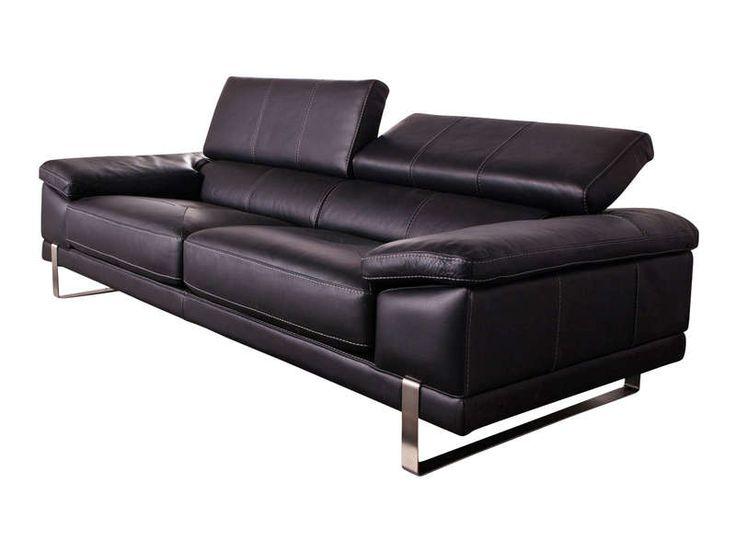 Canapé fixe 2 places ROMA coloris gris platine prix promo Canapé cuir Conforama 1 199.80 €