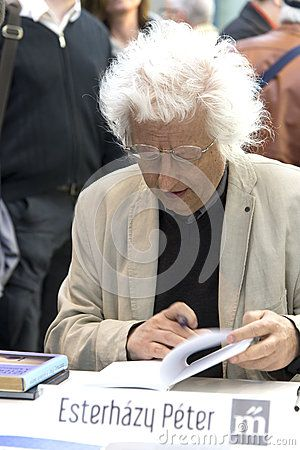 Péter Esterházy, famous and popular Hungarian writer dedicating his books on the 23rd International Book Festival Budapest - 2016 most widely known contemporary Hungarian writer. His works have been published in more than 20 languages