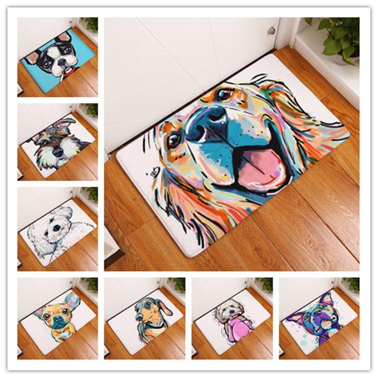 2017 modernen Stil Schönen Malerei Hundedruck Teppiche rutschfeste Bodenmatte Außen Teppiche Tier Haustür Matten