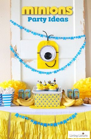 Cute Minions Party Ideas! Fun DIY ideas for a Minions Party or Despicable Me Minion Themed Birthday Party. LivingLocurto.com
