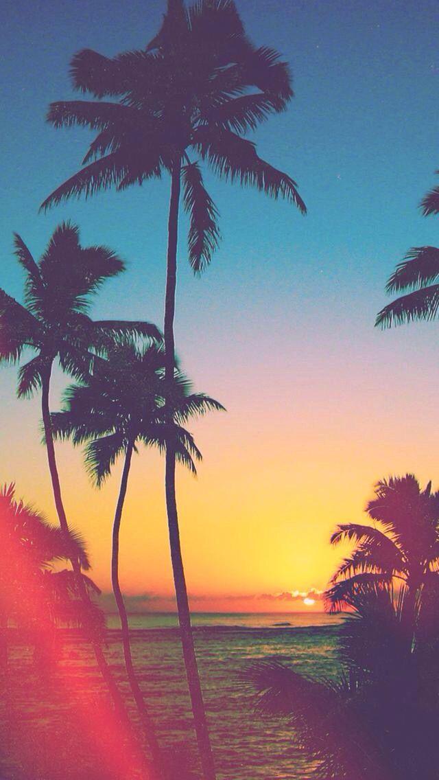 夕暮れのトロピカルビーチ 夏っぽいスマホ壁紙 スマホ壁紙 Iphone待受画像ギャラリー ハワイ 壁紙 風景の壁紙 ビーチの壁紙