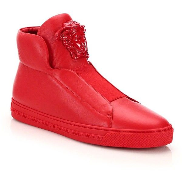 Versace Idol Tonal Pallazo Leather High-Top Sneakers : Versace Shoes (2 160 BGN) ❤ liked on Polyvore featuring men's fashion, men's shoes, men's sneakers, apparel & accessories, cardinal red, mens red shoes, mens slip on shoes, mens high top sneakers, mens high top shoes and mens red sneakers