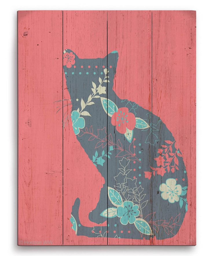 Look at this Red Floral Cat Silhouette Wrapped Canvas on #zulily today!