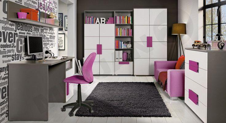 Idealny pokój dla nastolatki! Sprawdź więcej tutaj - >http://www.mirjan24.pl/mebloscianki/3861-meble-mlodziezowe-libelle-i-5900101902355.html Check it! #girls #teenager