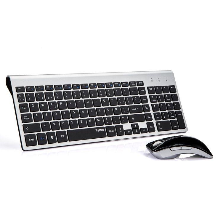 TopMate KM9001 Pack de teclado y ratón, 2.4 GHz inalámbrico Pack de teclado y ratón (QWERTY Español ) (Negro Plata): Amazon.es: Electrónica